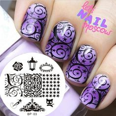 Gradient Purple Arabesque Star Stamping by BornPrettyNails - Nail Art Gallery nailartgallery.nailsmag.com by Nails Magazine www.nailsmag.com #nailart