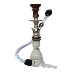 37 cm magas, pipa teste rozsdamentes fém, víztartálya üveg. A pipa 33 mm - es szénkoronggal használható. Top Marks, Aladdin