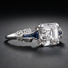 Stunning 1.75 Carat Asscher-Cut Diamond Art Deco Ring