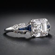 Stunning 1.75 Carat Asscher-Cut Diamond Art Deco Ring