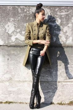 Edgy look | Button up khaki jacket with high waisted leather pants
