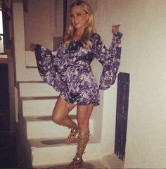 Tamra Judge's Blue Printed Dress & Gold Gladiator Sandals | DETAILS: http://www.bigblondehair.com/real-housewives/rhoc/tamra-judges-blue-printed-dress-gold-gladiator-sandals/ (Photo: @TamraJudge on Instagram)