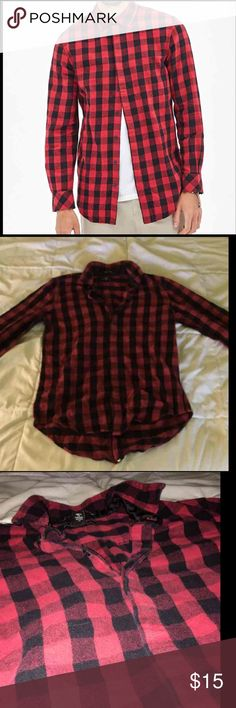 FOREVER 21 Buffalo Plaid Flannel Pink and black Baja hoodie from Baja Joe in size small but can fit xs to medium sizes. Only worn once. Was purchased in Mackinaw Island.  I except best offer.  I do not do free shipping. I'm sorry for any inconvenience.    I ship items out Monday-Thursday.  All sales are final. Forever 21 Shirts Casual Button Down Shirts
