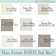 House Exterior White Paint Ideas - Hello Lovely Studio. #paintcolors #houseexteriors #bestwhitepaint #whitepaintcolors White Exterior Paint, White Exterior Houses, House Paint Exterior, Exterior Paint Colors, Exterior House Colors, White Houses, Best White Paint, White Paint Colors, Best Paint Colors