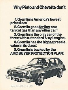 Hudson Car, Amc Gremlin, 70s Cars, American Motors, Jeep Models, Car Advertising, Gremlins, First Car, Sport
