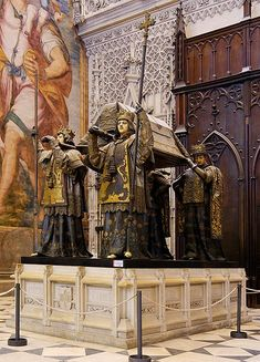Tomb of Christopher Columbus (Cristóbal Colón) in the Cathedral in Sevilla. The remains are borne by kings of Castile, Leon, Aragon and Navarre