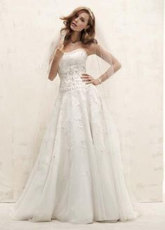 Satin Bodice with Organza Skirt and Beading - David's Bridal- mobile