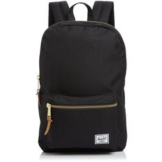 Herschel Supply Co. Settlement Mid Volume Backpack ($63) ❤ liked on Polyvore featuring bags, backpacks, black, travel rucksack, leather zip backpack, leather zipper backpack, zip bag and travel daypack