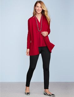 black skinny pants + red blouse + red open cardigan + plaid flats                                                                                                                                                                                 More
