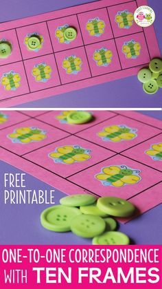 Use this free printable to create one-to-one correspondence activities for your kids. Ideas to customize the five and ten frames are included. Perfect math center activities in preschool, pre-k and tot school. The counting activity can be customized for any theme or special interests of children. Meaningful, hands-on, early math concepts, numeracy, number concepts, early childhood math. Teach kids to count