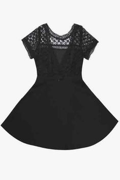 Robe patineuse dos dentelle noire Emily Andy & Lucy