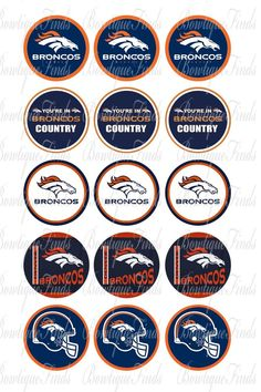 "Denver Broncos U PRINT.. 1"" Bottle Cap Images Sent To You... U PRINT"