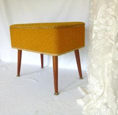 Mid-Century Orange-Gold Ottoman,  Atomic Footstool,  Retro Storage Hassock, Sewing Box on Etsy, $85.00