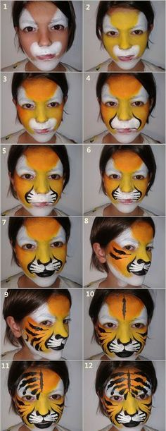29 Ideen Make-up Halloween Sencillo Media Cara für 2019 Doll Face Paint, Doll Painting, Painting For Kids, Tiger Face Paint Easy, Tiger Face Paints, Face Painting Tutorials, Face Painting Designs, Kids Makeup, Fall Makeup