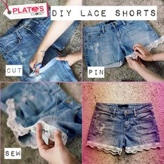 DIY video on how to turn old worn jeans into cute lace shorts! 2019 DIY video on how to turn old worn jeans into cute lace shorts! The post DIY video on how to turn old worn jeans into cute lace shorts! 2019 appeared first on Lace Diy. Denim And Lace, Artisanats Denim, Jeans Refashion, Diy Clothes Refashion, Diy Clothing, Diy Videos, Diy Clothes Videos, Diy Shorts, Shorts Tights