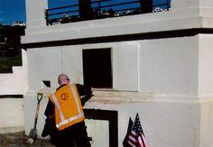 Wayne at work restoring the plaque.