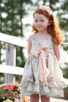 something cheaper though     Flower Girl Dress Girls Silk Party Dress Cream Pink Floral Spring Made to order 12M, 18M, 2t, 3t-10 years - Terra. $128.00, via Etsy.