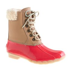 sperry x jcrew snow boots. love the pop of coral!