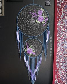 Large lavender roses dream catcher ▪ This beauty needs a place to call home  Find it here ~ www.aurvgon.com