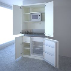 hideaway compact kitchen.. **Love this for the mother-in-law suite. For the room above the garage. For the studio in the woods. Awesome. DeR