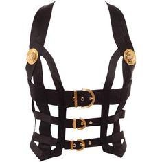 Vintage 92 Gianni Versace Couture Bondage Bustier, Sz. XS ❤ liked on Polyvore featuring intimates, accessories, versace and vintage bustier