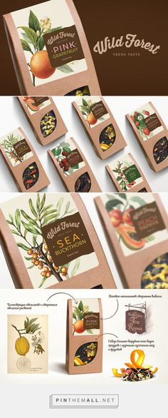 Art direction, graphic design and packaging for Wild Forest Tea on Behance curated by Packaging Diva PD. Premium tea with pieces of natural fruits in vintage packaging.