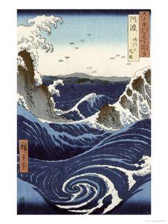 Utagawa Hiroshige, View of the Naruto Whirlpools at Awa, from the Series Rokuju-Yoshu Meisho Zue, 1853