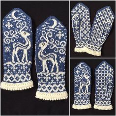 Knitting Patterns Ravelry Ravelry: Midvinter (Mid Winter) pattern by JennyPenny Knitted Mittens Pattern, Fair Isle Knitting Patterns, Knit Mittens, Knitting Charts, Knitted Gloves, Knitting Socks, Hand Knitting, Crochet Patterns, Norwegian Knitting