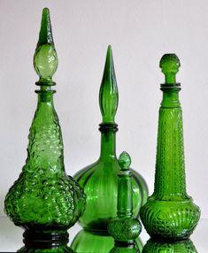 Set of Green Genie Bottles