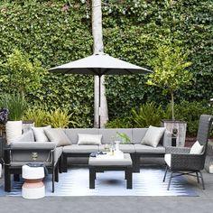 Wood Slat Sectional - different arrangements. 3 corners + 3 singles $1449 but cushions no longer available!