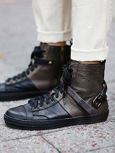 Berwyn Sneaker | Colorblock high top leather sneakers.  Exposed zipper up the side and a buckled band at the top.   *By Liebeskind