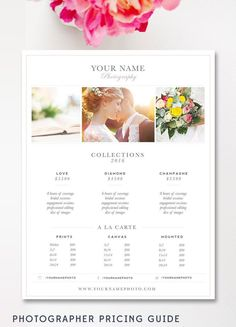 Wedding Photography Price List- Photographer Template - By Stephanie Design