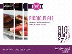 Picnic Plate for only $7.77 at Saddle Bar! Hamburger, hot dog, watermelon, potato salad & coleslaw