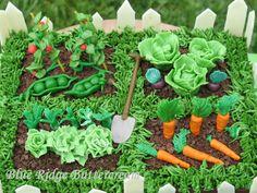 Hobby baker exploring new cake decorating techniques Vegetable Garden Cake, Vegetable Garden Design, Vegetable Gardening, Birthday Sheet Cakes, Adult Birthday Cakes, Birthday Ideas, Garden Cupcakes, Garden Theme Cake, Garden Birthday Cake