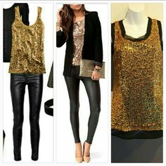 "Classy Gold Sequin top NWT It's Party time and this top says ""Party"" all over it!! Gold sequins cover this top, neckline and sleeve caps are trimmed with unhemmed sheer black material,at the bottom the sheer black material shows to add detail. Pair this fabulous top with our black leggings!!   Brand new Size small Scoop neckline, Sheer black lining, Gold sequin material on top 100% polyester Tops Tank Tops"