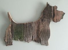 Scottish Terrier is made from repurposed weathered barn wood.