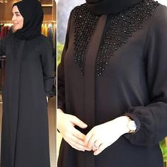 Handwork straight cut abaya Front open Nida material Rate 3400 ping me 9895473878 Niqab Fashion, Modern Hijab Fashion, Hijab Fashion Inspiration, Fashion Dresses, Iranian Women Fashion, Islamic Fashion, Muslim Fashion, Burqa Designs, Abaya Designs