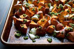 Sweet Potatoes With Yogurt and Cilantro-Chile Sauce
