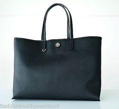 52b73845184b Tory Burch Cameron Large Tote Shoulder Bag Coated Canvas Black  295  190041005529