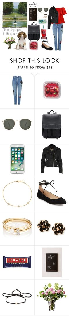 """""""Nice day spent in the park..."""" by elisehart ❤ liked on Polyvore featuring Topshop, FRUIT, Ray-Ban, River Island, Karl Lagerfeld, Loren Stewart, Chantecler, Urban Outfitters, Magdalena Frackowiak and LSA International"""