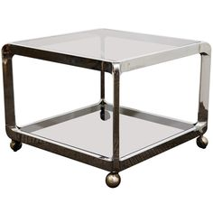 Mid Century Chrome and Glass Two-Tier Side Table with Casters