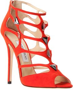 Women's Fashion High Heels : Jimmy Choo Sandália Laranja Hot Shoes, Shoes Heels, Pumps, Red Heels, Suede Shoes, Peep Toe, Jimmy Choo Shoes, Dream Shoes, Beautiful Shoes