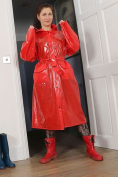 Girls in Rainwear 8 Red Raincoat, Vinyl Raincoat, Plastic Raincoat, Plastic Pants, Transparent Raincoat, Vinyl Clothing, Rain Wear, Lady In Red, Girl Outfits