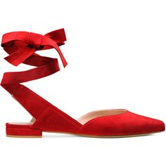 StuartWeitzman SUPERSONIC ($410) ❤ liked on Polyvore featuring shoes, flats, red, flat pumps, flat heel shoes, flat pump shoes, red flats and flat shoes