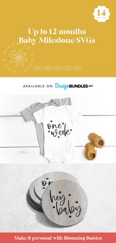 Up to 12 months baby milestone SVG cut files perfect for coasters, cards, round signs and baby bodysuits #ad Baby Makes, Baby Milestones, Baby Month By Month, Svg Cuts, Cutting Files, Design Bundles, Baby Svg, Baby Bodysuit, Cricut
