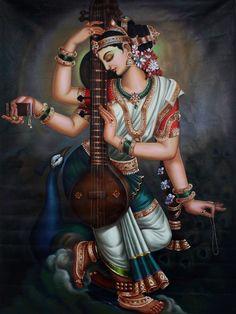 Saraswati Goddess, Kali Goddess, Goddess Art, Shiva Art, Krishna Art, Hindu Art, Krishna Lila, Krishna Images, Indiana