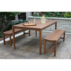 Gather friends and family around the inviting Vineyard Eucalyptus 3 Piece Backless Bench Patio Dining Set . This set is durably crafted with solid,. Outdoor Dining Set, Patio Dining, Outdoor Tables, Outdoor Furniture Sets, Dining Chairs, Outdoor Decor, Picnic Tables, Outdoor Patios, Deck Furniture