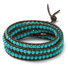 Chan Luu Brown Turquoise Five Wrap Bracelet ($190) ❤ liked on Polyvore