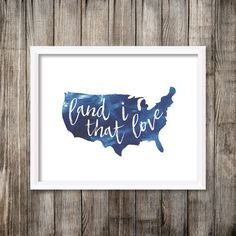 Land That I Love  Make a statement in any room with this beautiful calligraphy style print done in watercolor. This is an instant PDF download that you can keep and reprint as needed. Watercolors included are red, blue and grey. Formats included are 8x10 and 5x7, each on a standard 8.5x11 printing page. Perfect for framing or hanging immediately.  Feel free to message me for any modifications.  For personal use only please.
