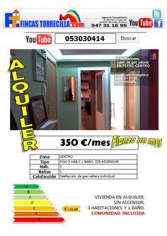 053030414 350€ ALQUILER/60.000€ VENTA 3 hab 1 baño